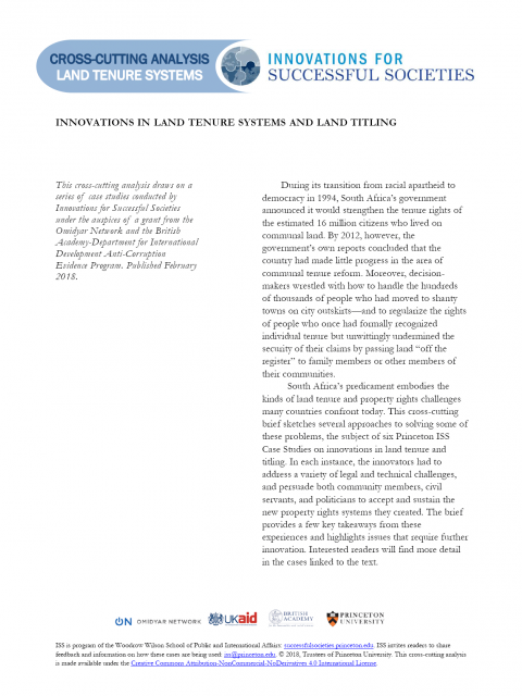 Innovations in Land Tenure Systems and Land Titling (Cross-Cutting)