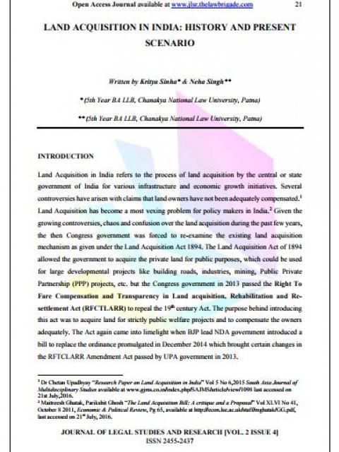 Land Acquisition in India: History and Present Scenario
