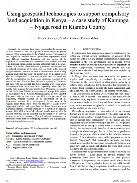 Using geospatial technologies to support compulsory land acquisition in Kenya cover image