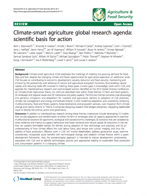 Climate-smart agriculture global research agenda: scientific basis for action cover image