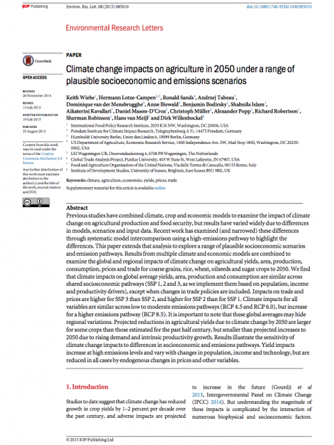 climate change impacts on agriculture in 2050 under a range of plausible socioeconomic and emissions scenarios