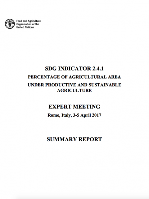 SDG Indicator 2.4.1: Percentage of Agricultural Area under Productive and Sustainable Agriculture cover image