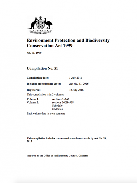 Environment Protection and Biodiversity Conservation Act 1999 cover image