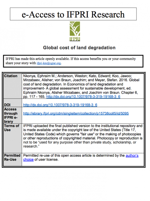 Global cost of land degradation cover image