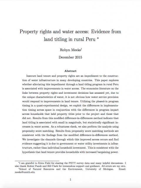 Property Rights and Water Access: Evidence from Land Titling in Rural Peru cover image