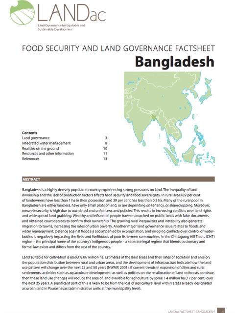 LandAc Bangladesh Factsheet – 2016 cover image