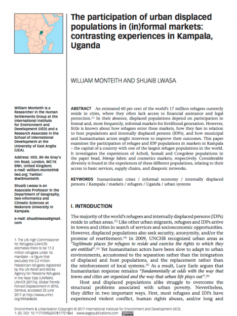 The participation of urban displaced populations in (in)formal markets: contrasting experiences in Kampala, Uganda cover image