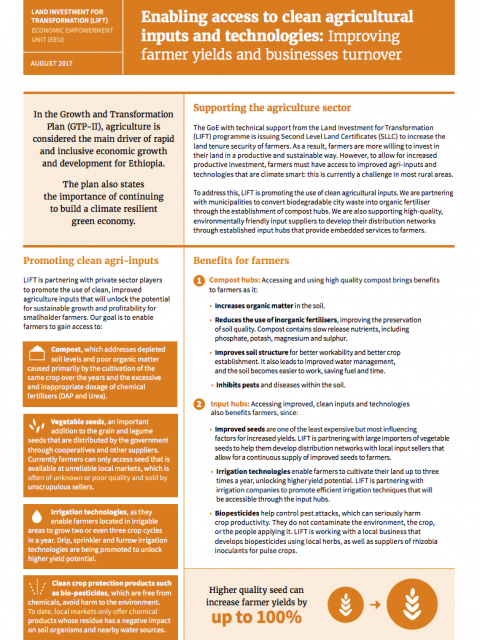 Enabling access to clean agricultural inputs and technologies: Improving farmer yields and businesses turnover cover image