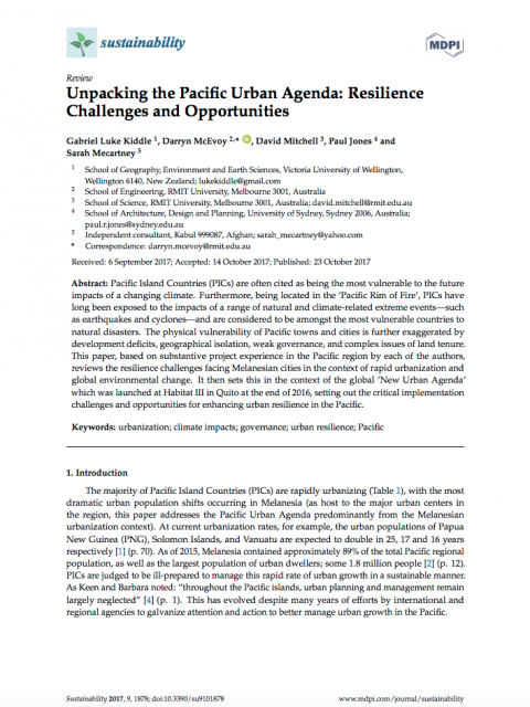 Unpacking the Pacific Urban Agenda: Resilience Challenges and Opportunities cover image