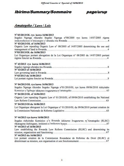 Law N° 03/2013/OL of 16/06/201  Governing Land in Rwanda. cover image