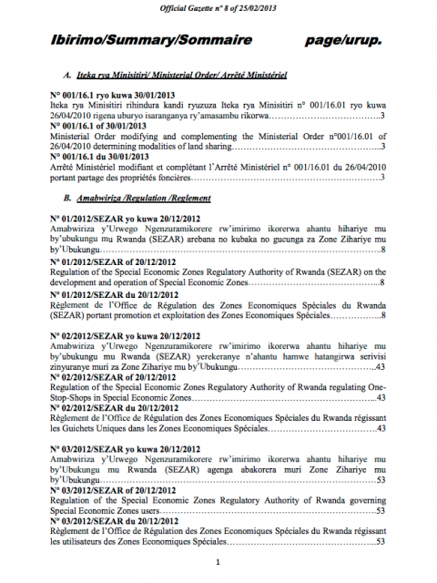 Ministerial Order N° 001/16.01 of 30/01/2013 Modifying and Complementing the Ministerial Order N° 001/16.01 of 26/04/2011 Determining Modalities of Land Sharing. cover image