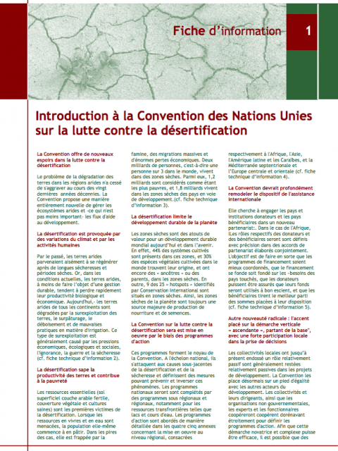 UNNCD Fiche d'information: Introduction à la Convention des Nations Unies sur la lutte contre la désertification cover image