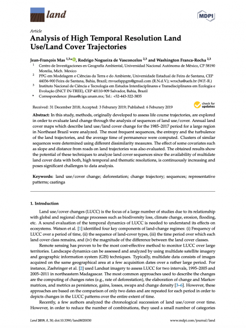 Analysis of High Temporal Resolution Land Use/Land Cover Trajectories cover image