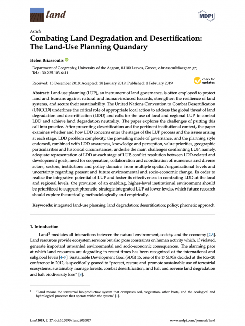 Combating Land Degradation and Desertification: The Land-Use Planning Quandary cover image