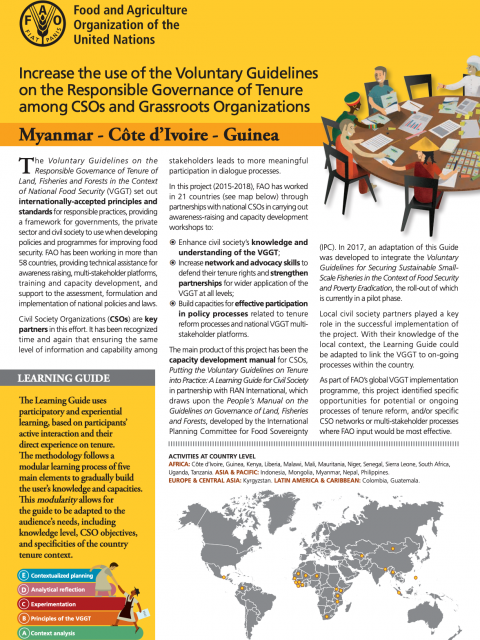 Increase the use of the Voluntary Guidelines on the Responsible Governance of Tenure among CSOs and Grassroots Organizations - Myanmar - Côte d'Ivoire - Guinea cover image