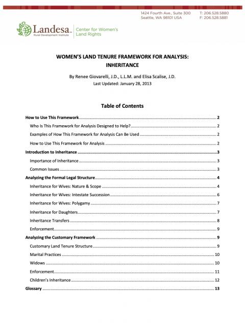 Women's Land Tenure Framework: Inheritance cover image