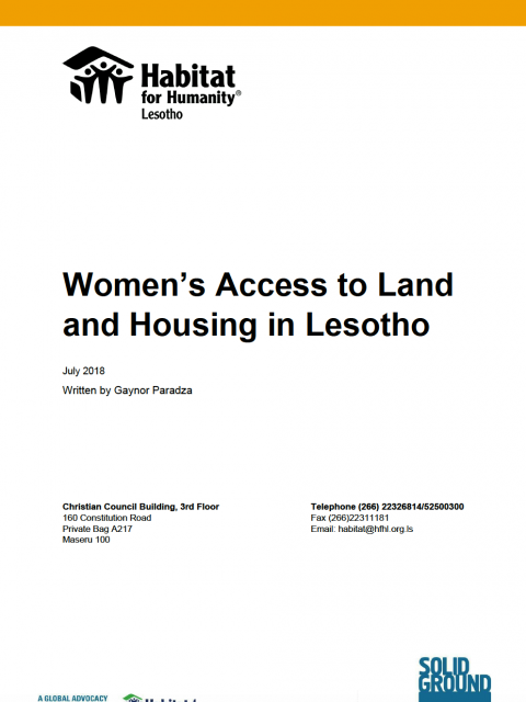 Women's Access to Land and Housing in Lesotho cover image