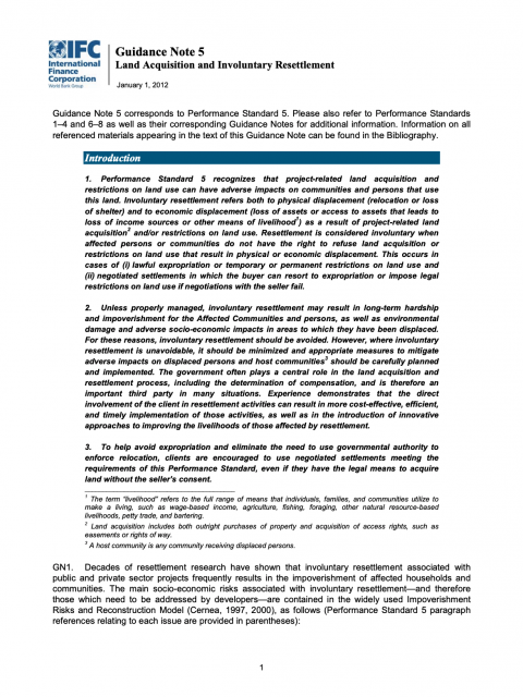 Guidance Note 5 Land Acquisition and Involuntary Resettlement cover image