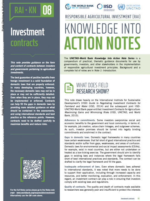 Responsible Agricultural Investment (RAI): Knowledge into Action Notes series - 8 - Investment Contracts cover image