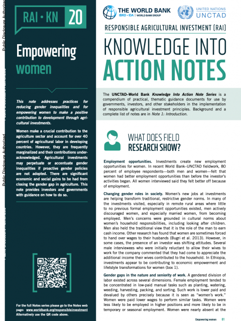 Responsible Agricultural Investment (RAI): Knowledge into Action Notes series - 20 - Empowering women cover image