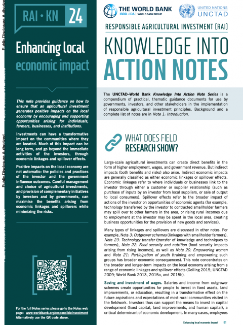 Responsible Agricultural Investment (RAI): Knowledge into Action Notes series - 24 - Enhancing local economic impact cover image