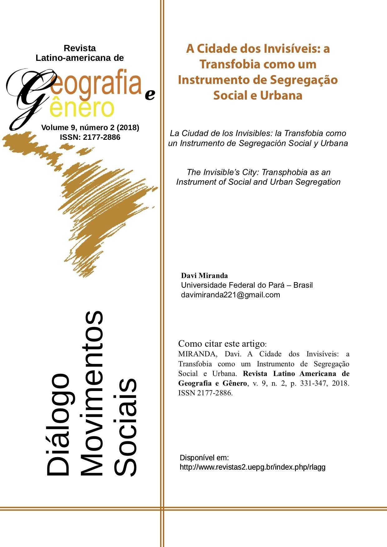 Revista Latinoamericana de Geografia e Gênero